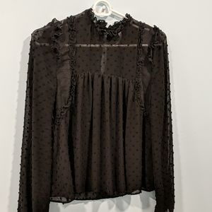Zara High Neck Black Blouse